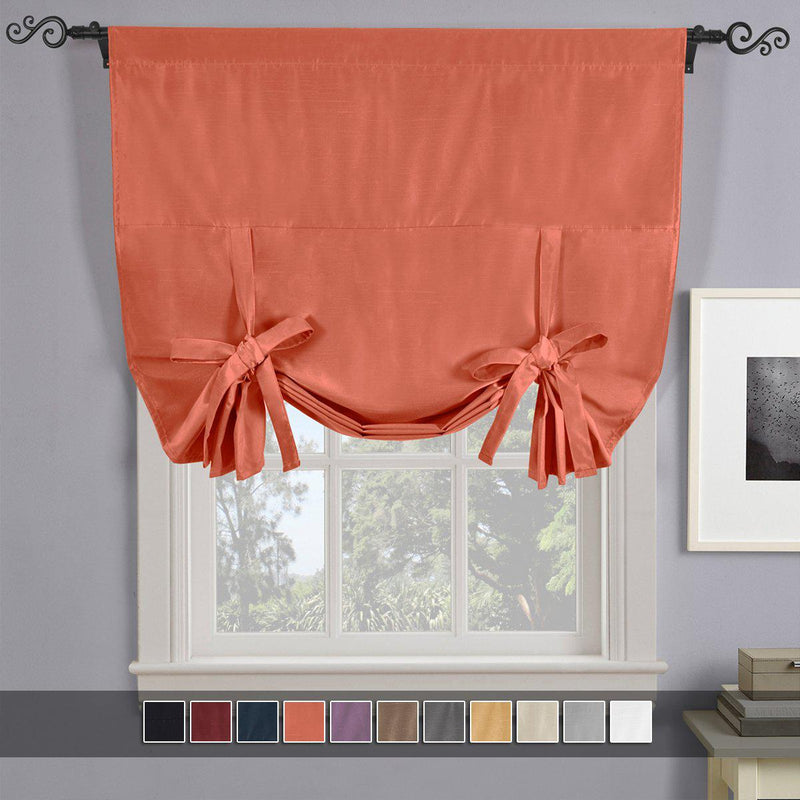"Soho Triple-Pass Thermal Insulated Blackout Curtain Rod Pocket - Tie Up Shade for Small Window ( 42"" W X 63"" L)-Royal Tradition-Coral-Egyptian Linens"