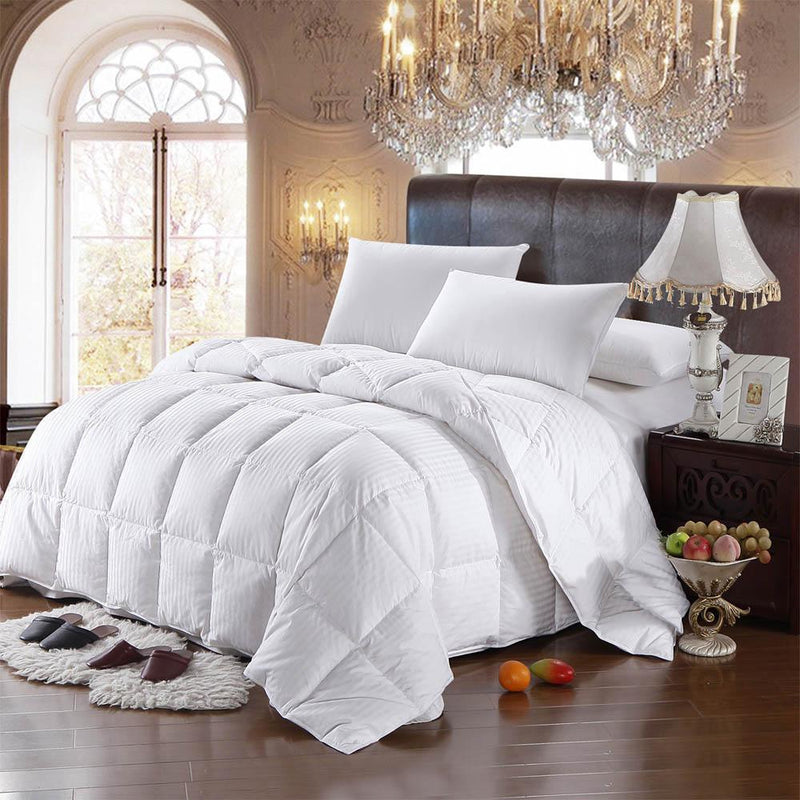 600 Fill Power Lightweight Goose Down Comforter-Royal Hotel Bedding-Damask Striped-Full/Queen-Egyptian Linens