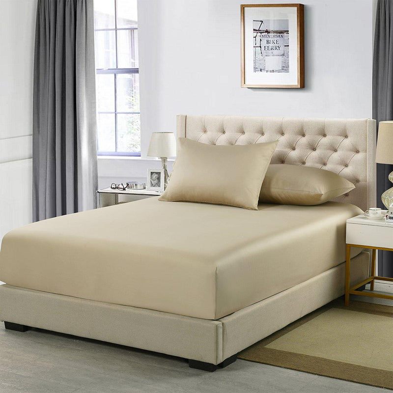 Flex King Fitted Sheet Only - Eucalyptus 600 Thread Count-Abripedic-Taupe-Egyptian Linens