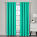 "Ava Blackout Weave Curtain Panels With Tie Backs Pair (Set Of 2)-Egyptian Linens-54"" x 63"" Pair-Turquoise-Egyptian Linens"
