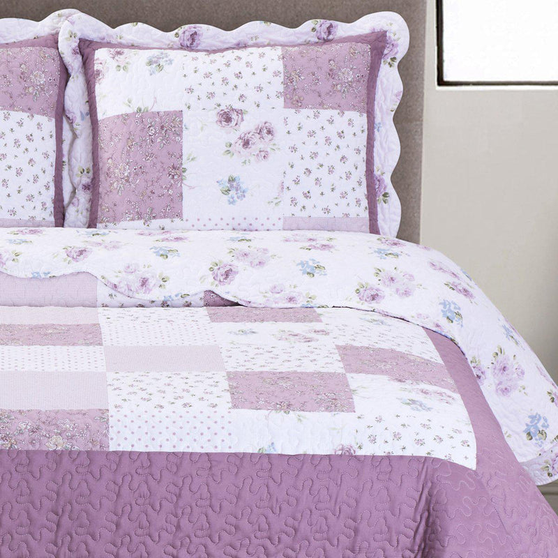 Ventura Floral Print Easy Care Microfiber Quilt Set-Royal Tradition-Egyptian Linens