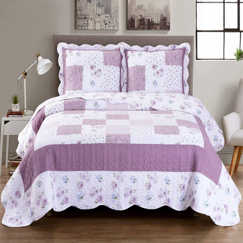 Ventura Floral Print Easy Care Microfiber Quilt Set-Royal Tradition-Twin/Twin XL-Egyptian Linens