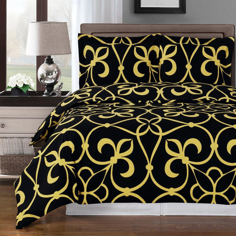 Duvet Cover Set - Victoria-Royal Tradition-Full/Queen-Bronze/Black-Egyptian Linens