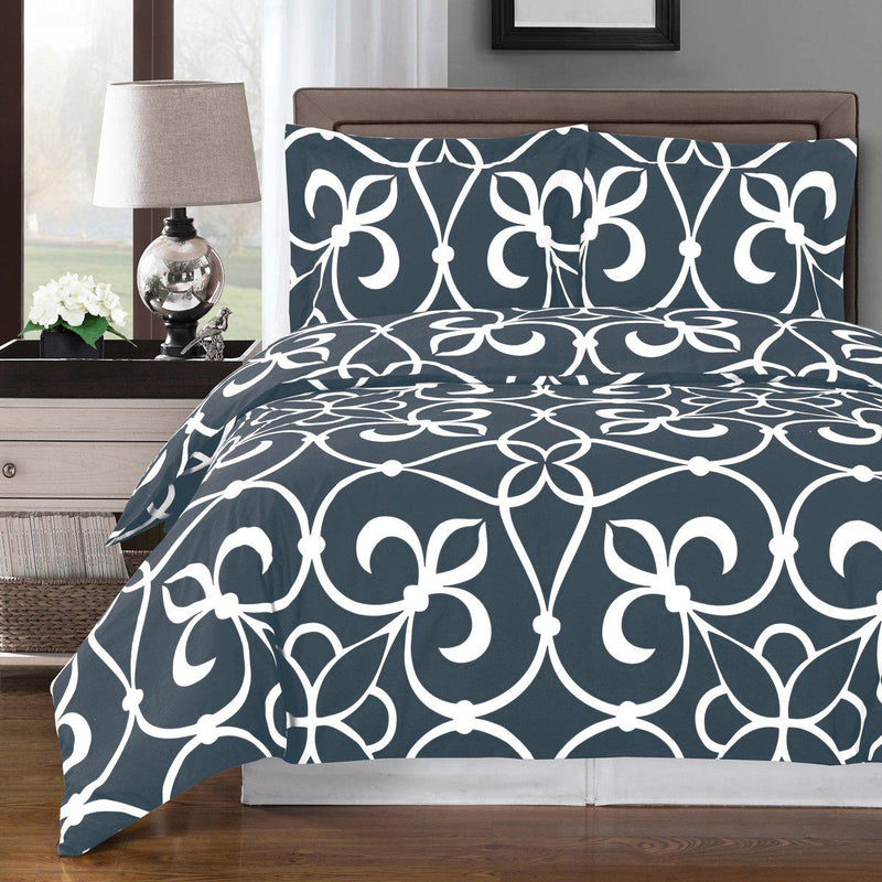 Duvet Cover Set - Victoria-Royal Tradition-Full/Queen-Gray/White-Egyptian Linens