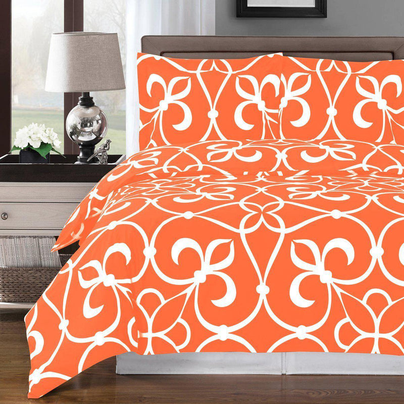 Duvet Cover Set - Victoria-Royal Tradition-Full/Queen-Tangerine/White-Egyptian Linens