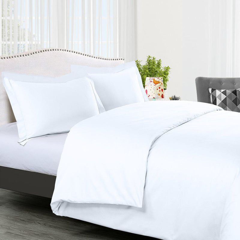Duvet Cover Set Solid 300 Thread count-Royal Tradition-Twin/Twin XL-White-Egyptian Linens