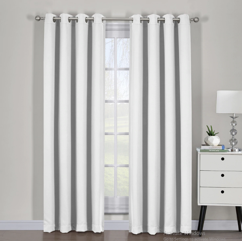 "Ava Blackout Weave Curtain Panels With Tie Backs Pair (Set Of 2)-Egyptian Linens-54"" x 63"" Pair-Greyish White-Egyptian Linens"