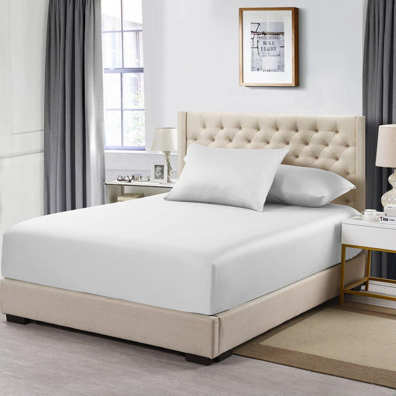 Flex King Fitted Sheet Only - Eucalyptus 600 Thread Count-Abripedic-White-Egyptian Linens
