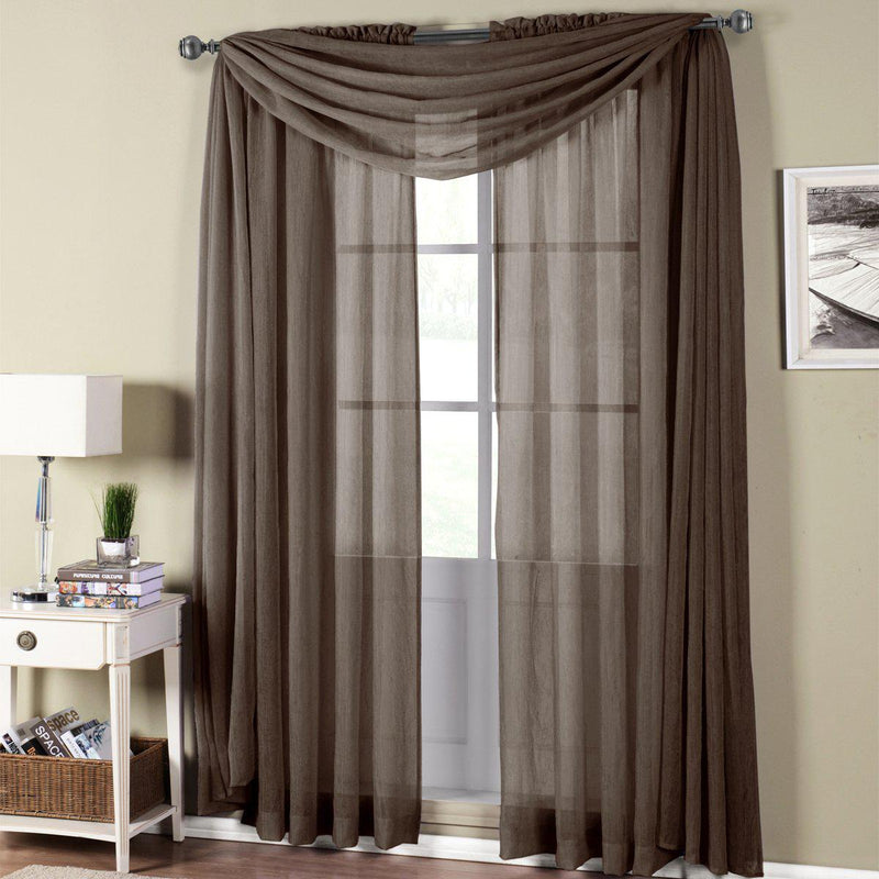 "Abri Rod Pocket Crushed Sheer Curtain Panel (Single)-Royal Tradition-50 x 63"" Panel-Chocolate-Egyptian Linens"