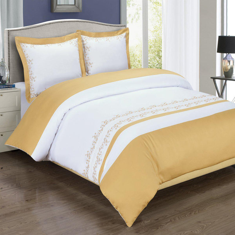 Embroidered Duvet Cover Set - Amalia-Royal Tradition-Full/Queen-Gold/White-Egyptian Linens
