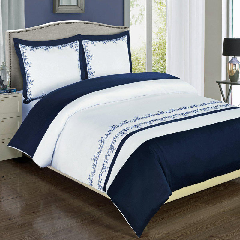 Embroidered Duvet Cover Set - Amalia-Royal Tradition-Full/Queen-Navy/White-Egyptian Linens