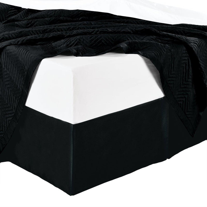 100% Microfiber Solid Bed Skirt-Royal Tradition-Twin-Black-Egyptian Linens