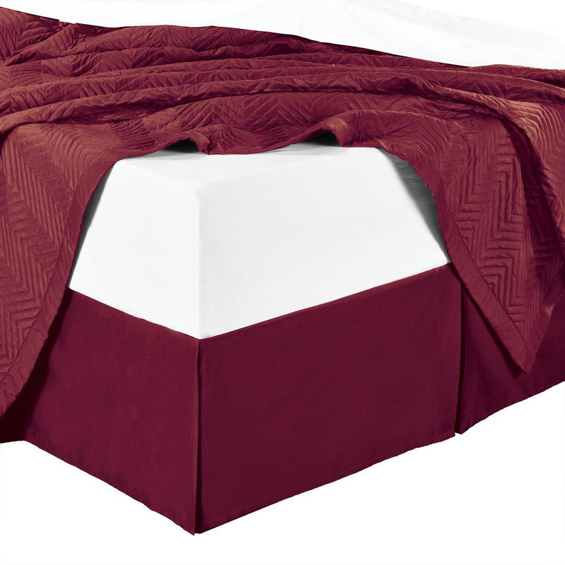 Split Corner 100% Cotton Solid 300TC Bed Skirts-Royal Tradition-Twin XL-Burgundy-Egyptian Linens