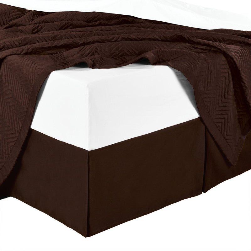 Split Corner 100% Cotton Solid 300TC Bed Skirts-Royal Tradition-Twin XL-Chocolate-Egyptian Linens