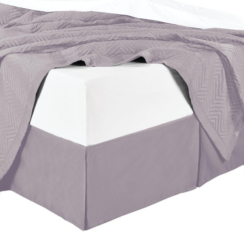 Split Corner 100% Cotton Solid 450 Thread Count Bed Skirts-Royal Tradition-Queen-Lilac-Egyptian Linens