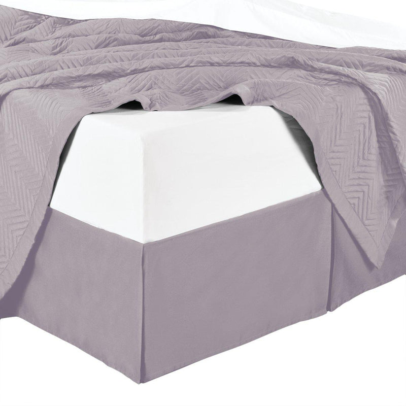 Split Corner 100% Cotton Solid 300TC Bed Skirts-Royal Tradition-Twin XL-Lilac-Egyptian Linens
