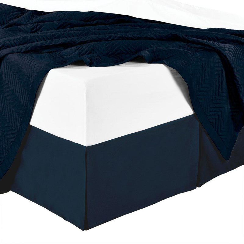Split Corner 100% Cotton Solid 450 Thread Count Bed Skirts-Royal Tradition-King-Navy-Egyptian Linens