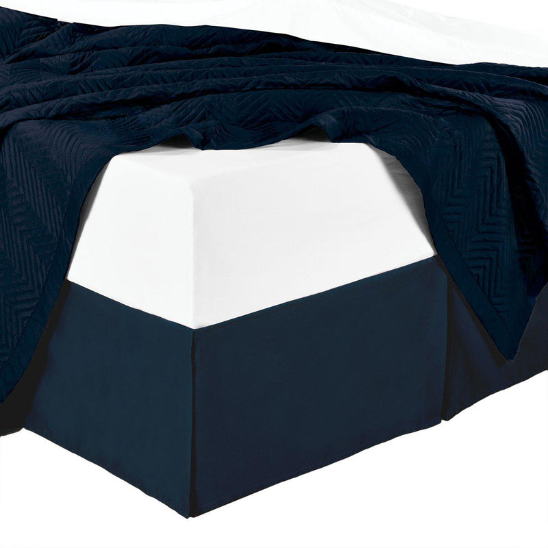Split Corner 100% Cotton Solid 300TC Bed Skirts-Royal Tradition-Twin XL-Navy-Egyptian Linens