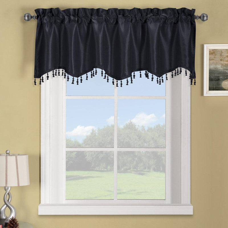 "Soho Straight Valance 70""Wx17""L (Single)-Royal Tradition-Black-Egyptian Linens"
