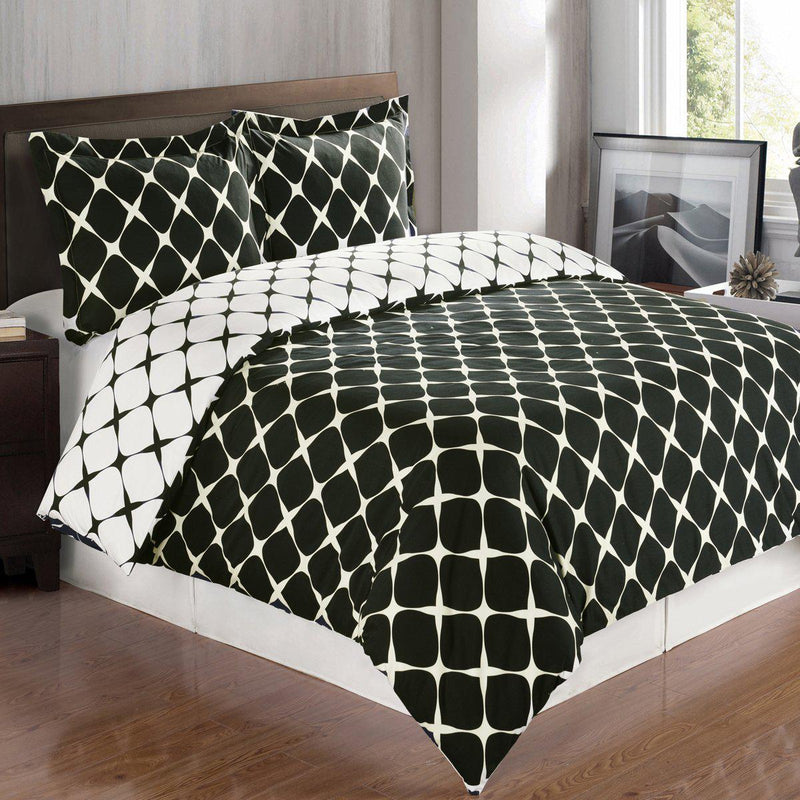 Duvet Cover Set - Bloomingdale-Royal Tradition-Twin/TwinXL-Black/White-Egyptian Linens