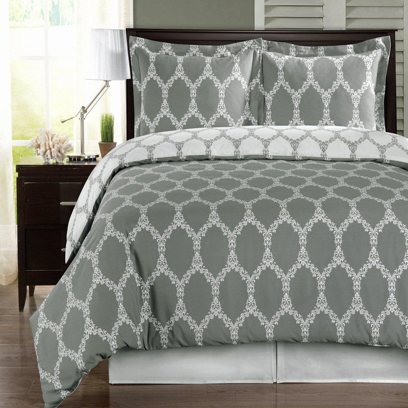 Duvet Cover Set - Brooksfield-Royal Tradition-Twin/Twin XL-Gray/White-Egyptian Linens