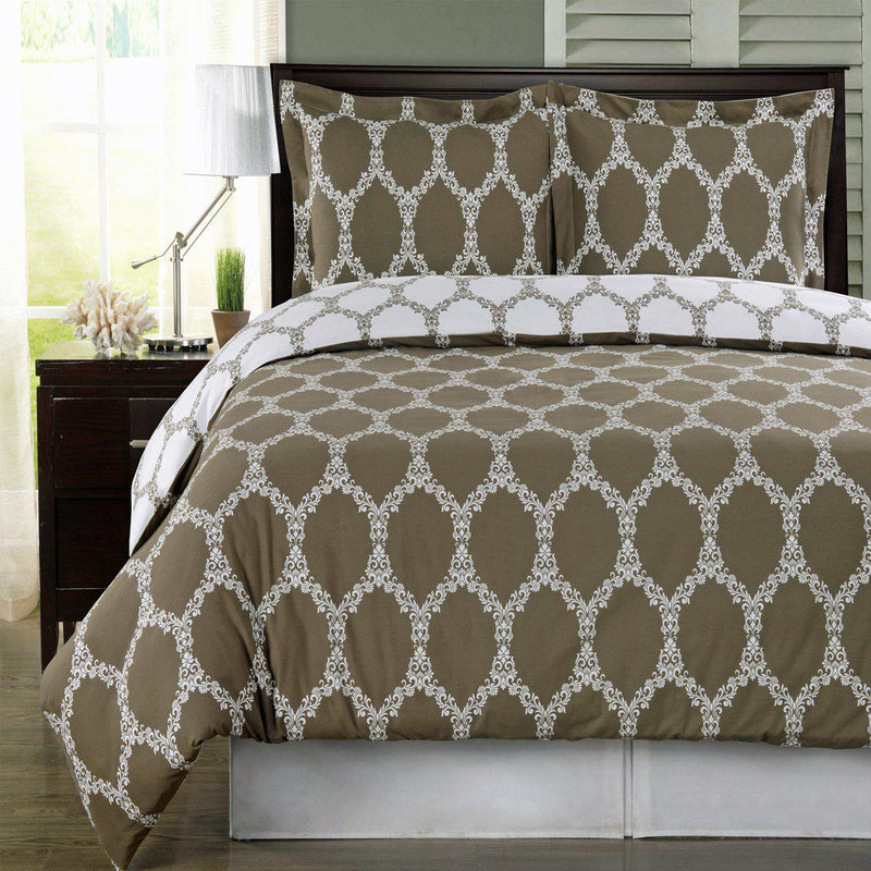 Duvet Cover Set - Brooksfield-Royal Tradition-Twin/Twin XL-Taupe/White-Egyptian Linens