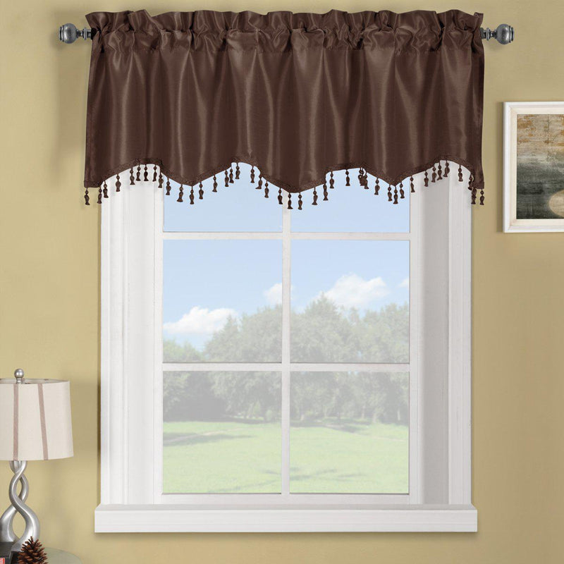 "Soho Straight Valance 70""Wx17""L (Single)-Royal Tradition-Chocolate-Egyptian Linens"