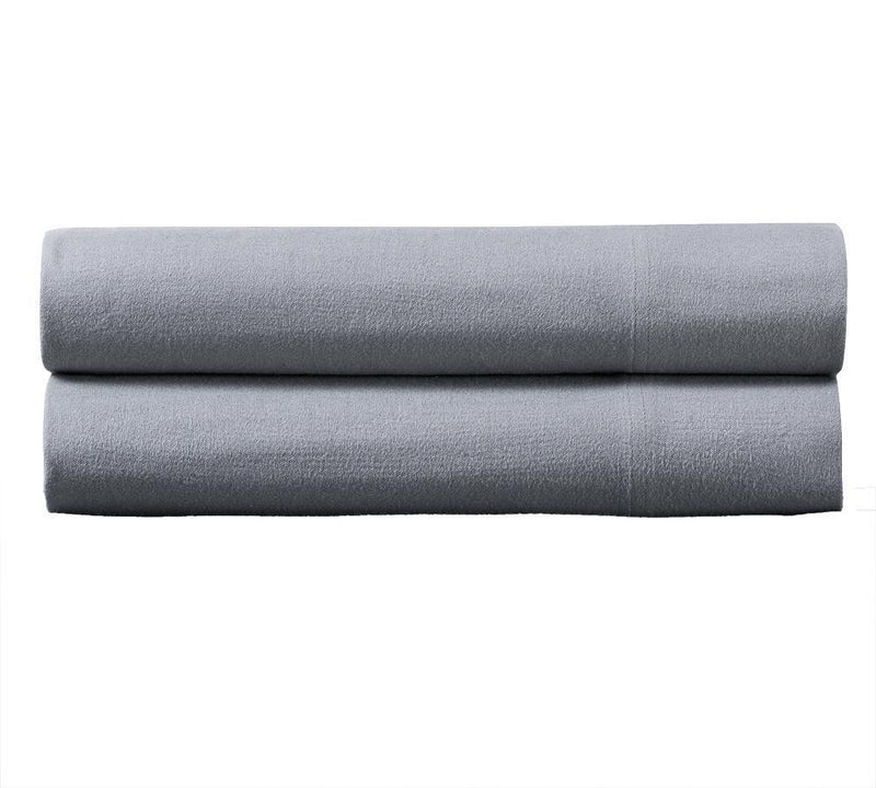 Heavyweight Flannel Pillowcase Set (Pair)-Royal Tradition-Standard Pillowcases Pair-Gray-Egyptian Linens