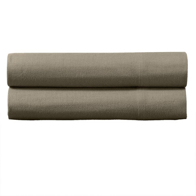 Heavyweight Flannel Pillowcase Set (Pair)-Royal Tradition-Standard Pillowcases Pair-Taupe-Egyptian Linens
