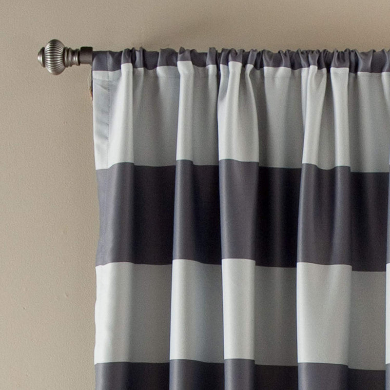 Grey Stripe Room Darkening 84-Inch Rod Pocket Window Curtain Panel Pair-Royal Tradition-Egyptian Linens