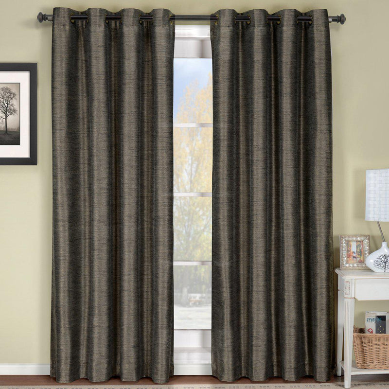 "Geneva Lined Energy Saving Black-Out Grommet Curtain Panel Single-Royal Tradition-52 x 84"" Panel-Grey-Egyptian Linens"