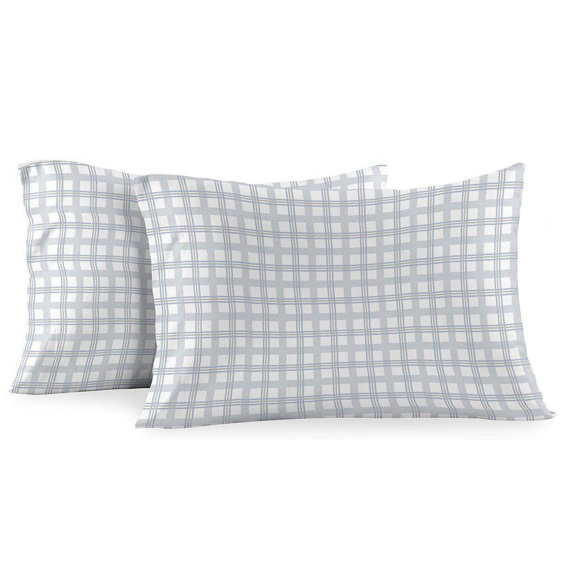 Heavyweight Printed Flannel Duvet Covers 170GSM - Gray Check-Egyptian Linens