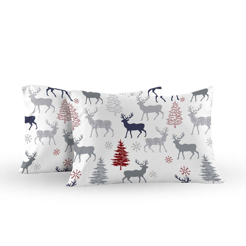 Heavyweight Printed Flannel Pillowcase Sets (Pair) - Christmas Deer-Egyptian Linens