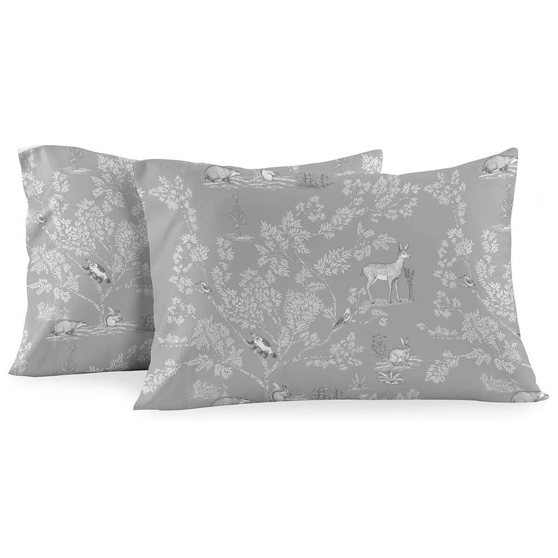 Heavyweight Printed Flannel Pillowcase Sets (Pair) - Pen Drawing Deer-Egyptian Linens