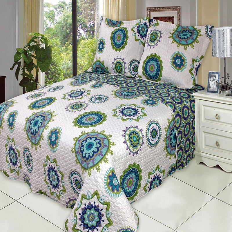 Julia Fashion Floral Design Quilt Set Oversized Lightweight Mini Sets-Royal Tradition-Cool-Twin Size-Egyptian Linens