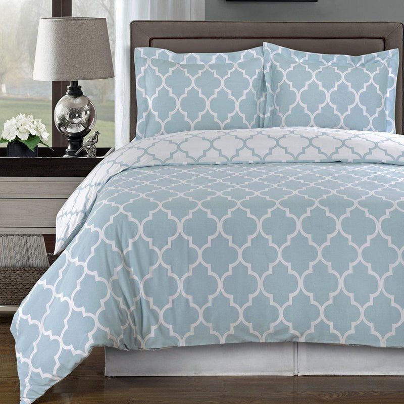 Duvet Cover Set - Meridian-Royal Tradition-Twin/Twin XL-Blue/White-Egyptian Linens