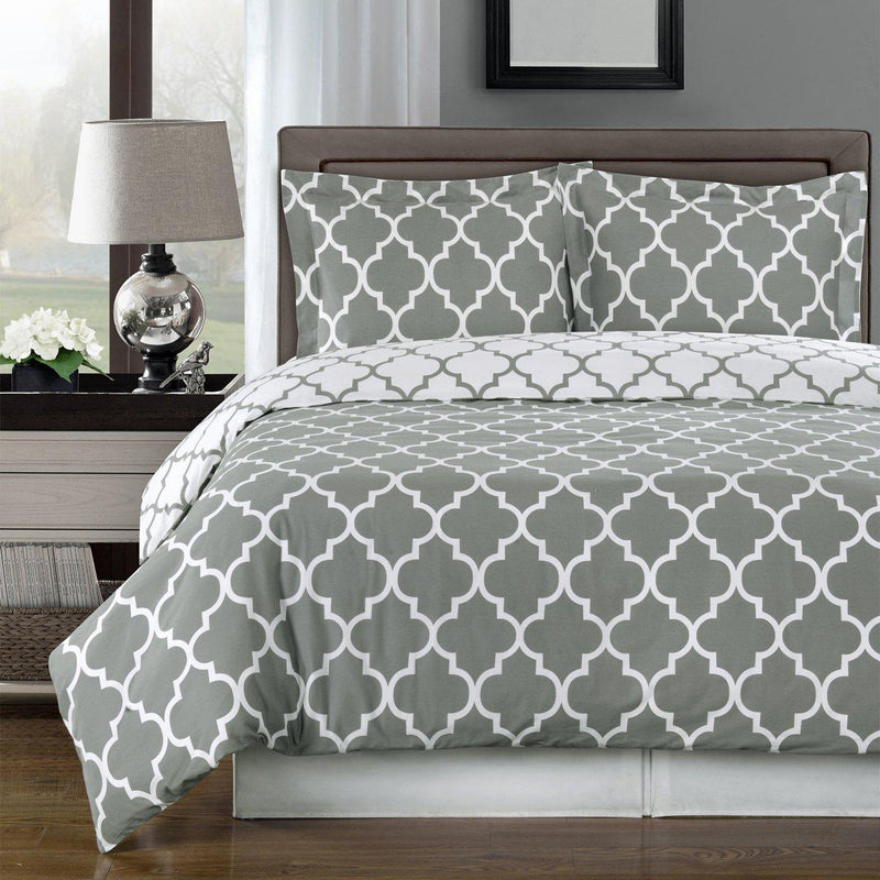 Duvet Cover Set - Meridian-Royal Tradition-Twin/Twin XL-Gray/White-Egyptian Linens