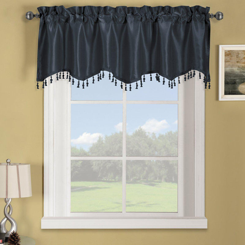 "Soho Straight Valance 70""Wx17""L (Single)-Royal Tradition-Navy-Egyptian Linens"
