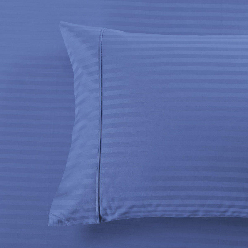 Damask Stripe 600 Thread Count Pillowcases (Pair)-Royal Tradition-King Pillowcases Pair-Periwinkle-Egyptian Linens