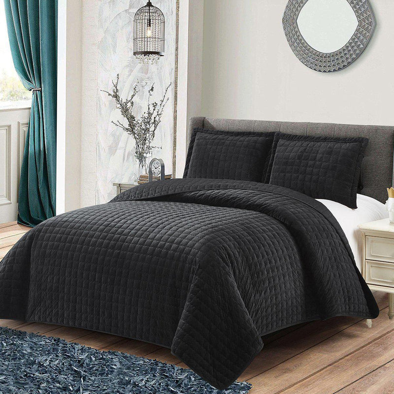 Plush Velvet Bedspread Quilt Set-Wholesale Beddings