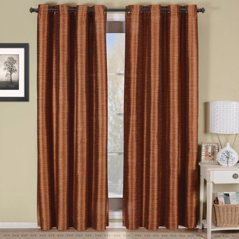 "Geneva Lined Energy Saving Black-Out Grommet Curtain Panel Single-Royal Tradition-52 x 84"" Panel-Rust-Egyptian Linens"