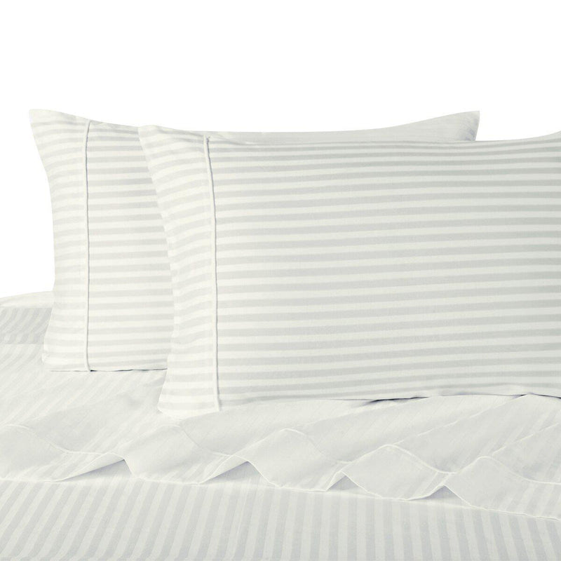 Sheet Set - Striped 600 Thread Count-Royal Tradition-Twin XL-White-Egyptian Linens