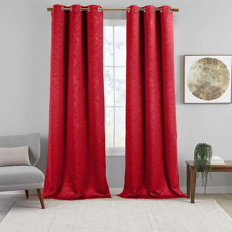 Virginia Leafy Design Blackout Weave Grommet Curtain Panels (Set of 2)-Wholesale Beddings