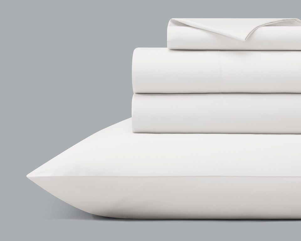 The Origanami Organic Cotton Sateen Sheet Set, Color Cloud (True White)