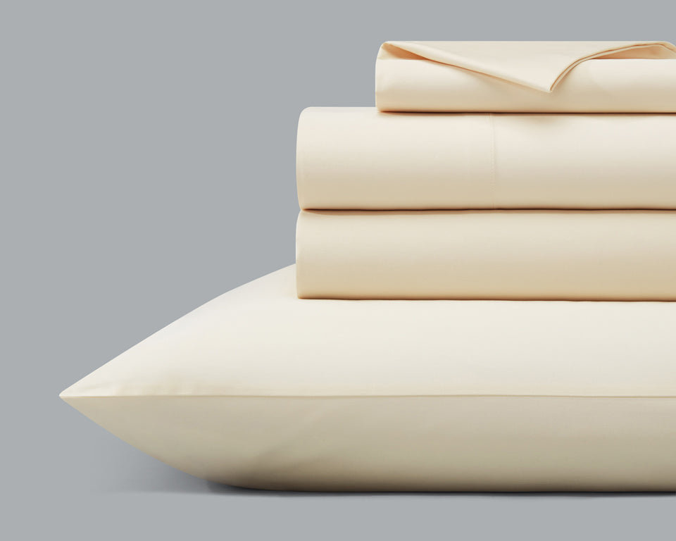 The Origanami Organic Cotton Sateen Sheet Set, Color Quartz (Ivory)