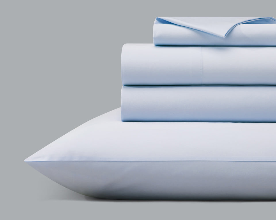 The Origanami Organic Cotton Sateen Sheet Set, Color Sky (Light Blue)
