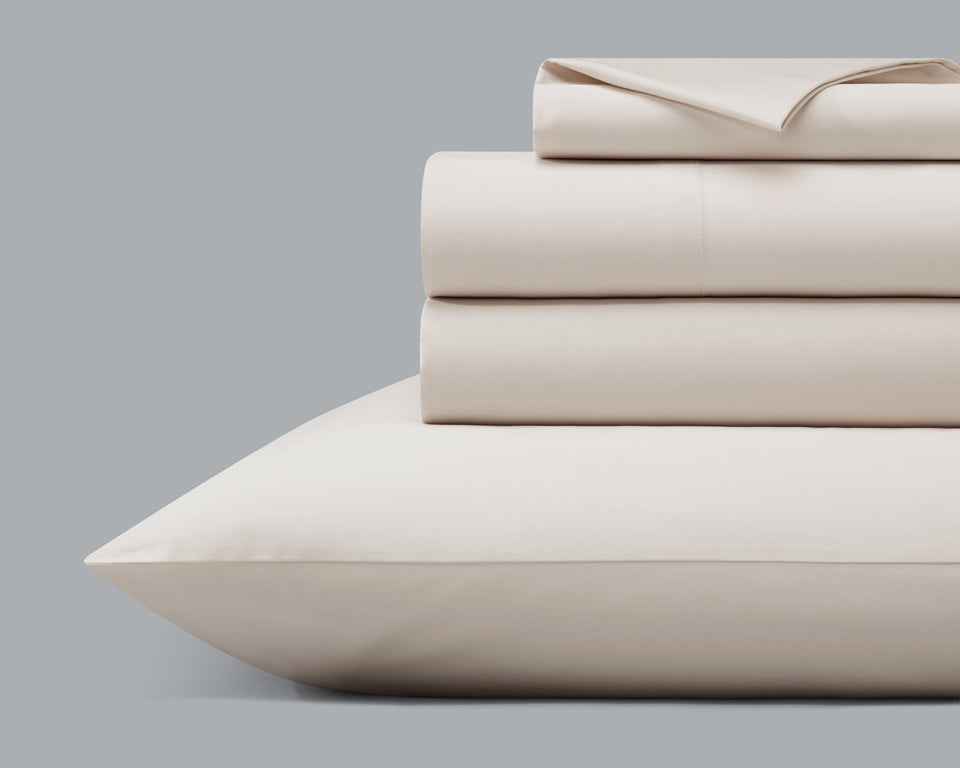The Origanami Organic Cotton Sateen Sheet Set, Color Stone (Light Grey)