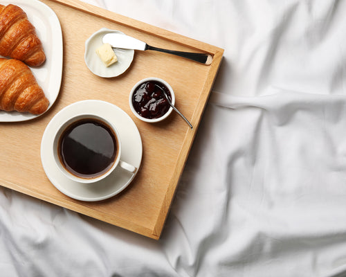Breakfast In Bed With The Origanami Organic Cotton Percale Sheet and Duvet Set Bundle, Color Cloud (True White)