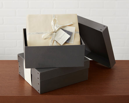The Origanami Organic Sheet Set Handsomely Packaged In It's Repurposable Storage Box