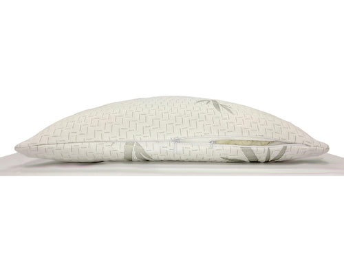 The Side View Of The Hulya Adjustable Memory Foam Pillow Showing The Zipper Where You Add Or Remove Memory Foam For Customizationundle, Color Cloud/Quartz (True White/Ivory)